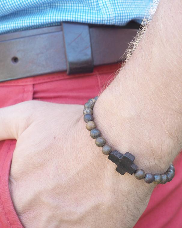 """Bracelet """"Orare"""" brun bois pour Homme - Catho Rétro"""