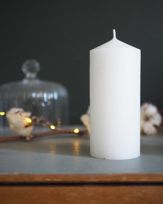 Cierge cylindrique blanc - Catho Retro