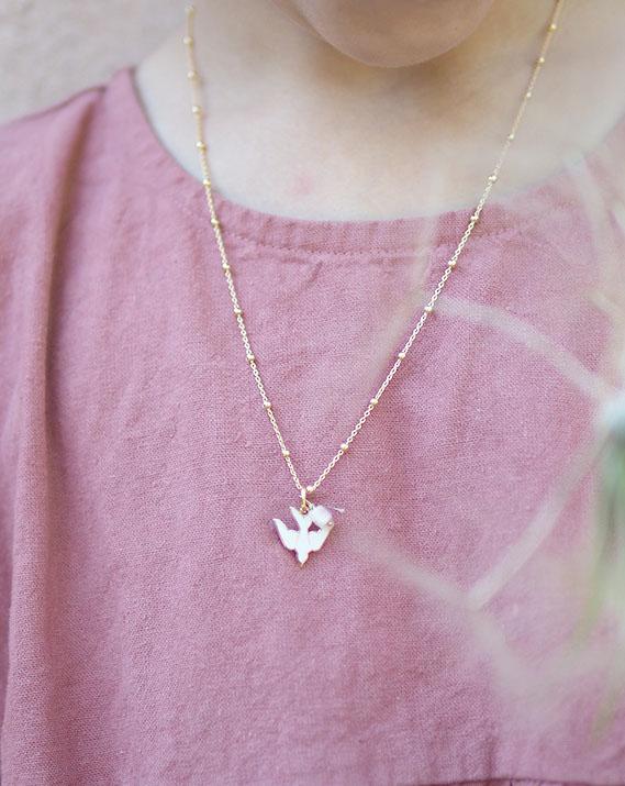 Collier colombe étoile jade rose - Plaqué or - Catho Rétro